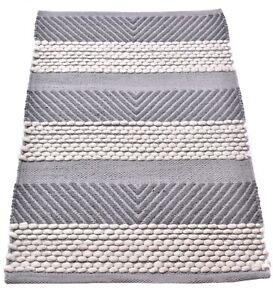 2x3 Ft Wool Rug Handmade Carpet Grey & White Kitchen Floor Runner Decorative Rug