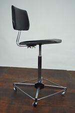 Vintage Chrome Office Chair Swivel Chair Desk Chair Architects Black 70er
