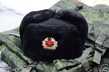 New Sheepskin Fur, Authentic Soviet and Russian Marines Black Army Hat Ushanka