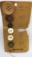 """Vintage """"Tekison"""" Wood/Mother Of Pearl Buttons On Original Card Small to Large"""