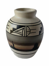 Vintage Navajo Vase Hand Painted Native American Pottery Signed Fred T Dine.