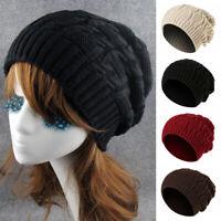 Unisex Winter Knitting Wool Oversize Slouch Beanie Cap Warm Skateboard Hat