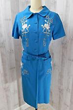 Vintage 1950-1960s Vestido ~ Azul Medio Camarera Pinup Retro Bordado Mediano
