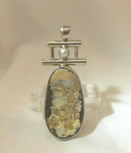 925 Sterling Silver Native American Brown Gemstone and Pearl Pendant