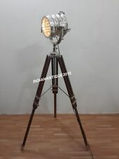 NAUTICAL THEATER SPOTLIGHT FLOOR LAMP CHROME SEARCHLIGHT WITH TRIPOD STAND