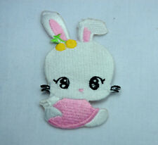 CUTE BABY BUNNY RABBIT 10cm Embroidered Iron Sew On Cloth Patch Badge APPLIQUE
