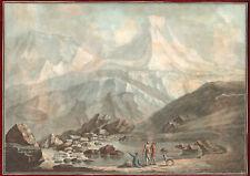 1780s Hand Colored Aquatint Alpine Views Alps Charles Melchior Descourtis