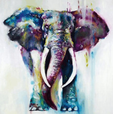 "Elephant colorful wall art printed on canvas 16'' X 16"" solid frame"