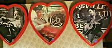 "Elvis Presley -A Vintage Set Of Three Cardboard Valentine Hearts - 9-1/4"" Across"
