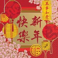 CHINESE ASIAN ORIENTAL BEVERAGE NAPKINS PARTY TABLE DECORATIONS NEW YEAR 16 2PLY