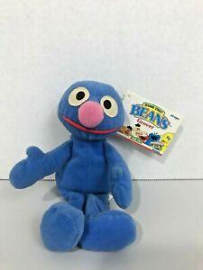 "TYCO Sesame Street GROVER 7"" Bean Bag STUFFED ANIMAL Toy 1997 w/Tags blue figure"