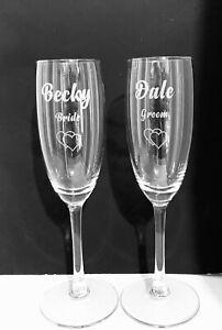 Personalised Wedding Bride & Groom Champagne flutes SET OF 2