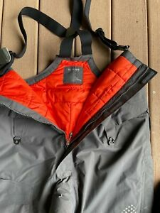 NEW Simms Challenger Insulated Bibs Black - Large / Orange Lining  Fishing