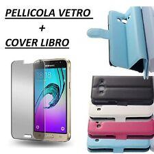 Cover a Libro Custodia HQ LATERAL per Samsung Galaxy J3 2016 J320 NEWTOP Blu