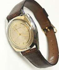 Bulova Accutron 14K Gold Vintage Inlay 1960's Genuine Snake Leather Band Watch