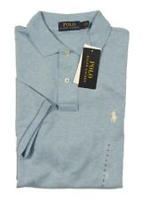 Polo Ralph Lauren Men's Blue Heather Classic Fit Interlock Short Sleeve Polo
