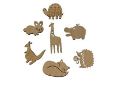 7 x Animal Brooches - Wooden - Jewellery - Fox/Rabbit/Giraffe/Hedgehog/Hippo