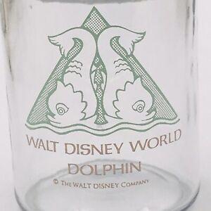 "Vintage Walt Disney World Dolphin Glass Jar Canister 5.25"" Tall 2.5"" Diameter"