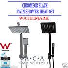 WELS 200MM Rainfall Shower Head Square Handheld Set Twin Taps Mixer Black/Chrome