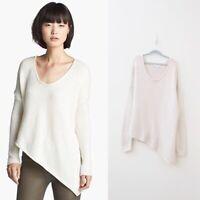 Helmut Lang Size Medium Alpaca Blend Asymmetrical Chunky Knit Sweater Cream