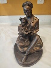 """Alice Ecila Sculpture African American Mother Daughter Rare Art Marked 9"""" Tall"""