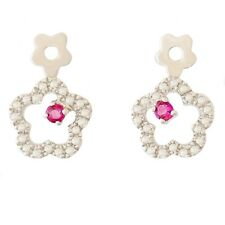 RUBY DIAMOND EARRINGS. 40 REAL DIAMONDS + NATURAL PETITE RUBIES IN 9K WHITE GOLD
