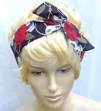 BLACK SKULL RED ROSES COTTON HANDMADE BENDY HAIR WRAP WIRED SCARF HEADBAND 345