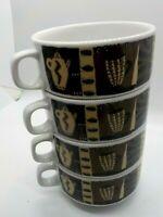 Vtg Vista Alegre Stacking Mugs Set of 4 Espresso Coffee Porcelain Animal Print