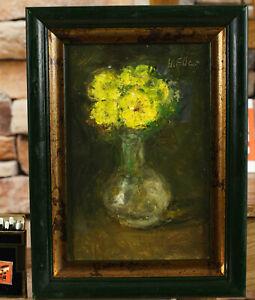 Hermann Eller 1925-2009 Ölgemälde von 2002 Stillleben Primeln Vase Rahmen 24x18