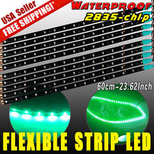 10X Flexible Strip 60cm Vivid Green Car Motorcycle 2835 LED Light Waterproof 12V
