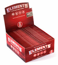 1 box - Elements RED King Size Slim Slow Burn Hemp rolling paper - 1650 papers