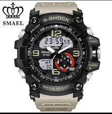 Reloj Deportivo Reino Unido para hombre smael Táctico De Pantalla Dual Shock Digital buzos en Negro