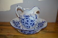Ceramic Chamber Pot Set and Pitcher Chile Blue and White Floral Design