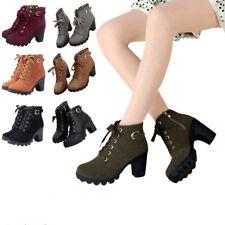 Damen Schuhe Stiefeletten High Heel Lace Up Ankle Boots Stiefel Platform Shoes L