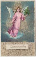 B 526 Neujahr ca.1910 ! Schutzengel mit Weihnachtsbaum - Super Glimmer Karte !
