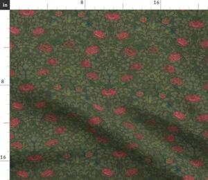 Roses Green Olive Cottage Vintage Rose Victorian Spoonflower Fabric by the Yard