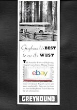 GREYHOUND BUS LINES 1941 BEST TO SEE THE WEST REDWOOD HIGHWAY AD