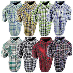 Plaid Western Shirt Mens Short Sleeve Snap Up Pockets New Colors 3XL 4XL 5XL