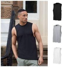 Cotton Blend Patternless Sleeveless Basic T-Shirts for Men