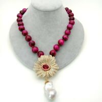 Cz pave flower and White Keshi Pearl Pendant 14mm fuchsia Tiger eye Necklace