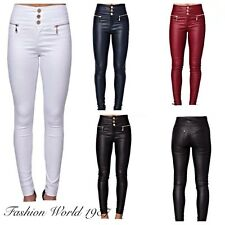 Women's Leather Look Slim Fit Skinny 3 Button Zip Jeans Ladies Leatherette Stret
