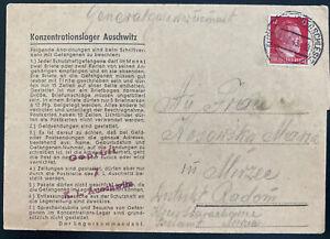 1943 Germany Auschwitz Concentration Camp Letter Cover to Radom Poland Kosowski
