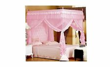 Pink Princess 4 Corners Post Bed Curtain Canopy Mosquito Netting (Twin) Pink
