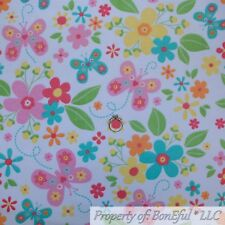 BonEful FABRIC FQ Cotton Quilt Flannel Pastel Color Butterfly Flower Baby Girl L