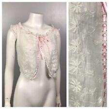 Vintage 1920s White Sleeveless Embroidered Camisole Cami Blouse Top XXS