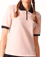 Adidas Osaka Polo Shirt Women's Half Zip Top Pink Knit Polyester Pique Tee