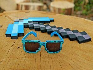 Minecraft Foam Diamond Pickaxe Toy with Free Sunglasses New Pick Axe - New