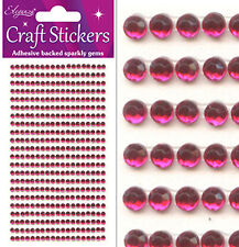 2090 X 3mm Self Adhesive Half Back Diamante Peel off Stick on Gems Embelishment Hot Pink