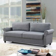 Classic Living Room Linen Sofa with Nailhead Trim and Storage - Light Grey