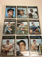 Vintage 1971 Topps Lot of 9 Baseball Cards. Collectors Items.